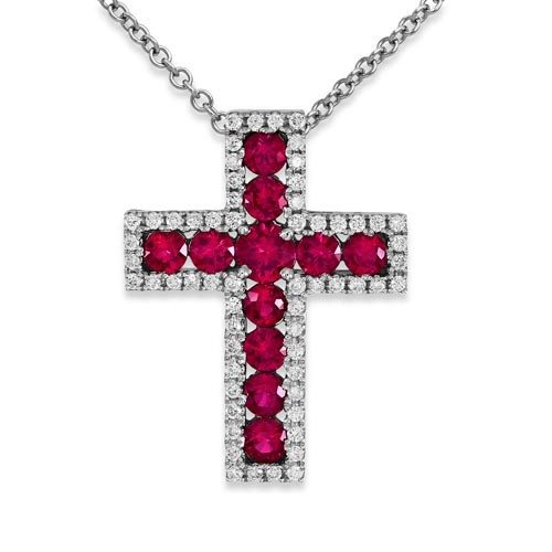 ruby pendant 1.4ct. set with diamond in cross pendant smallest Image