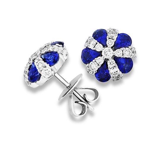 sapphire earrings 2.63ct. set with diamond in cluster earrings smallest Image