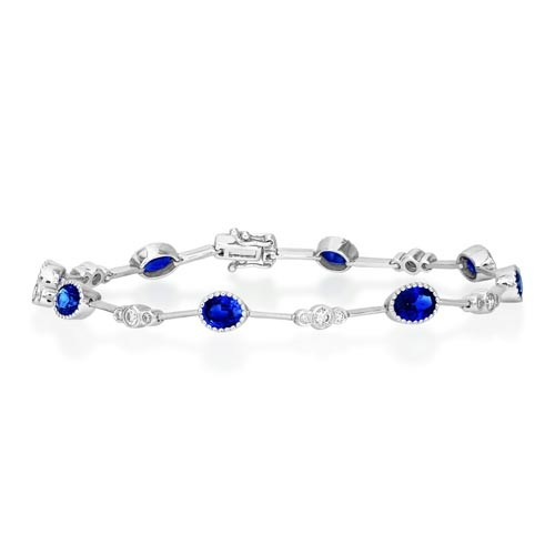 sapphire bracelet 3.91ct. set with diamond in cluster bracelet smallest Image
