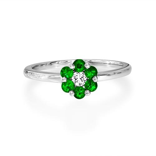 emerald ring 0.29ct. set with diamond in cluster ring smallest Image