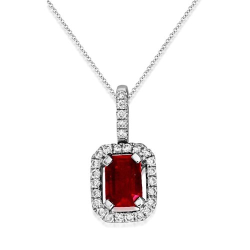 ruby pendant 0.57ct. set with diamond in cluster pendant smallest Image