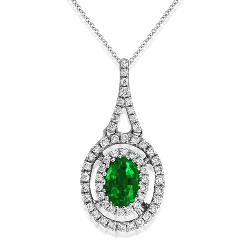 emerald pendant 0.51ct. set with diamond in cluster pendant smallest Image