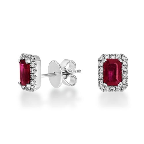 ruby earrings 1.58ct. set with diamond in cluster earrings smallest Image
