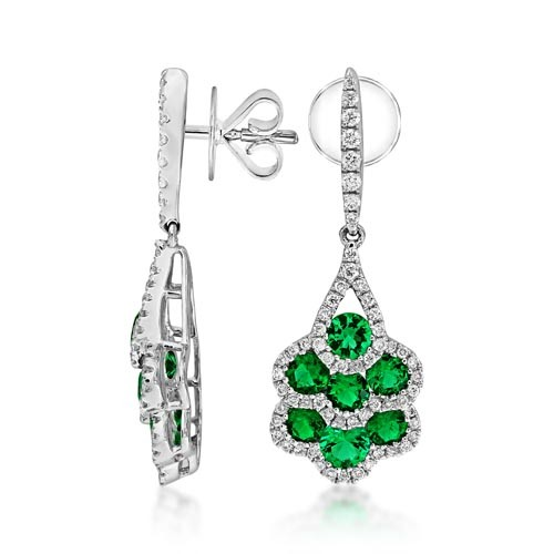 emerald earrings 1.56ct. set with diamond in cluster earrings smallest Image