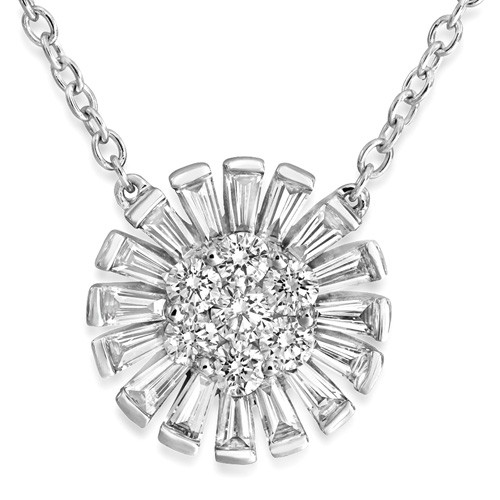 0.66ct. diamond necklace set with diamond in cluster necklace smallest Image