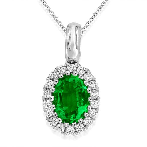 emerald pendant 0.77ct. set with diamond in cluster pendant smallest Image