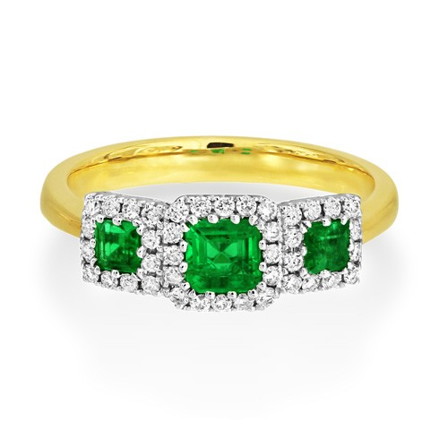 emerald ring 0.6ct. set with diamond in triple cluster ring smallest Image