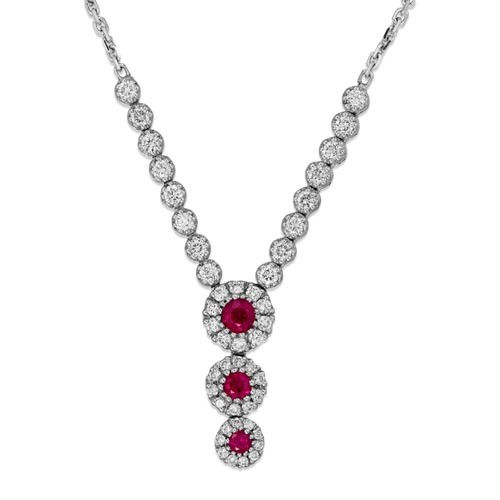 ruby necklace 0.42ct. set with diamond in cluster necklace smallest Image