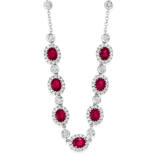 ruby necklace 3.18ct. set with diamond in cluster necklace smallest Image