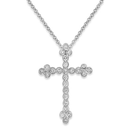0.28ct. diamond pendant set with diamond in cross pendant smallest Image