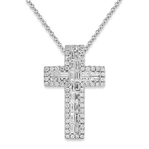 0.61ct. diamond pendant set with diamond in cross pendant smallest Image