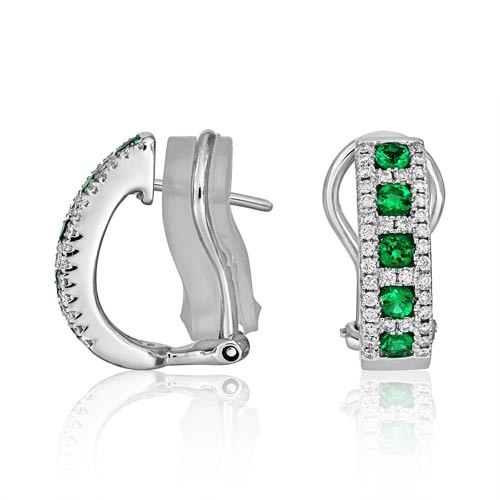 emerald earrings 0.4ct. set with diamond in hoop earrings smallest Image