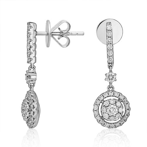 0.75ct. diamond earrings set with diamond in drop earrings smallest Image