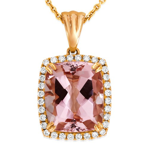 18Ct. Rose Gold Morganite And Diamond Pendant
