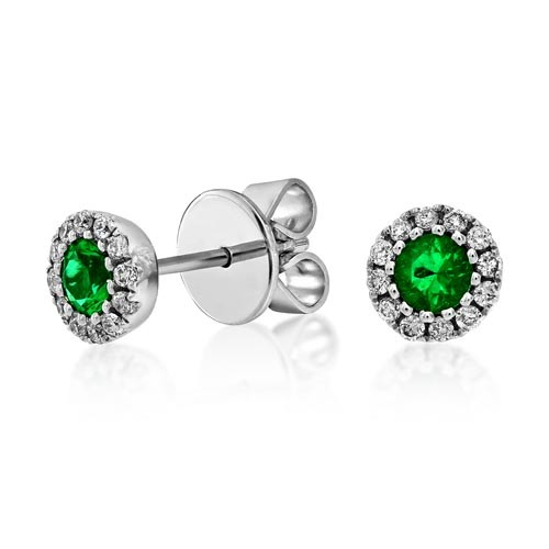 18ct. White Gold Emerald and Diamond Earrings