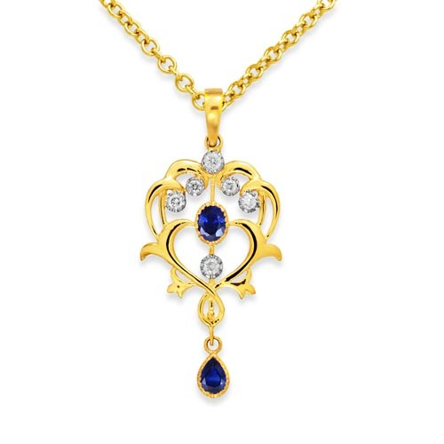 9Ki. Gold Sapphire and Diamond Pendant