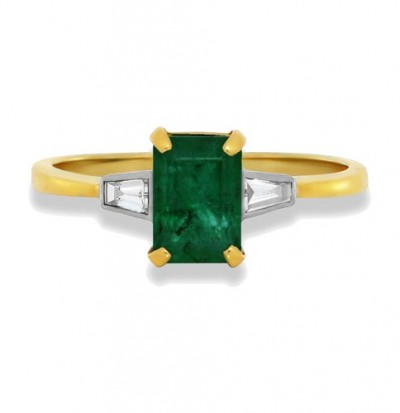 emerald ring 1.14ct. set with diamond in three stone ring smallest Image