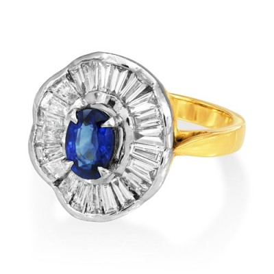sapphire ring 0.85ct. set with diamond in cluster ring smallest Image