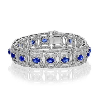 sapphire bracelet 10.7ct. set with diamond in vintage bracelet smallest Image