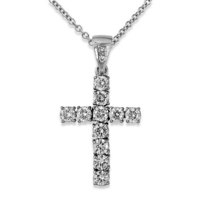 1.48ct. diamond pendant set with diamond in cross pendant smallest Image