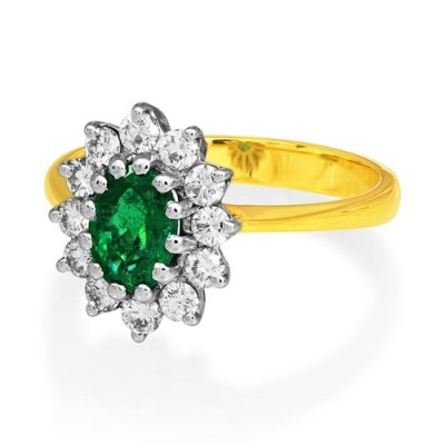 emerald ring 0.82ct. set with diamond in cluster ring smallest Image