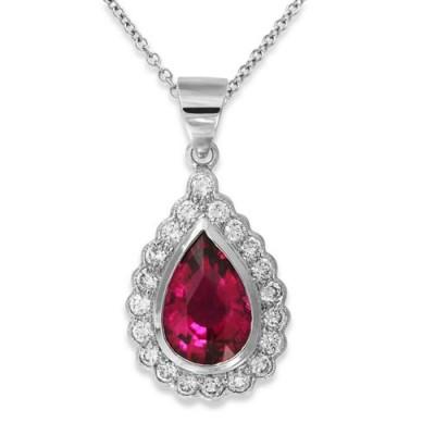 tourmaline pendant 2.21ct. set with diamond in cluster pendant smallest Image