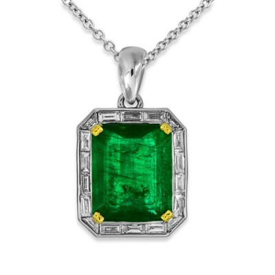 emerald pendant 11.64ct. set with diamond in cluster pendant smallest Image