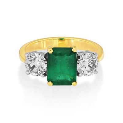 emerald ring 1.86ct. set with diamond in three stone ring smallest Image