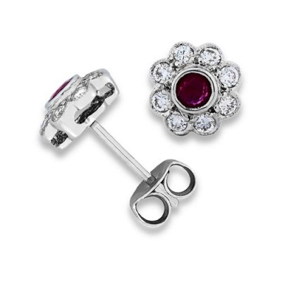 ruby earrings 0.48ct. set with diamond in cluster earrings smallest Image