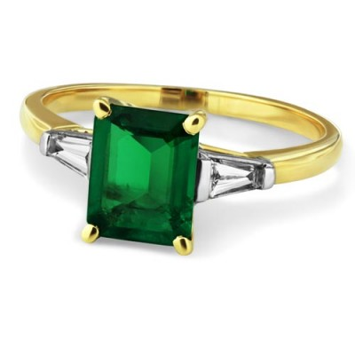emerald ring 1.49ct. set with diamond in three stone ring smallest Image