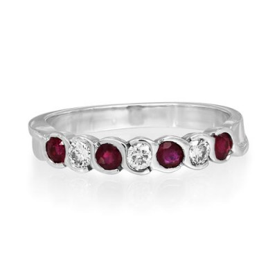 ruby ring 0.32ct. set with diamond in eternity ring smallest Image