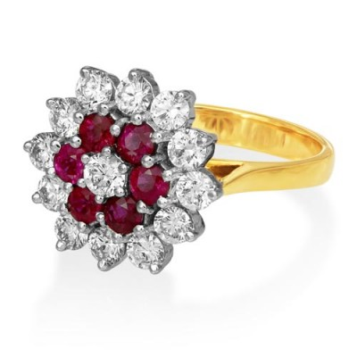ruby ring 0.73ct. set with diamond in cluster ring smallest Image