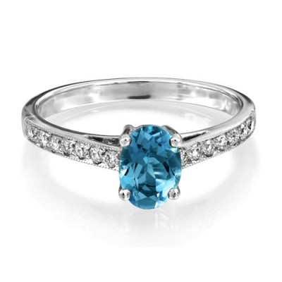 aquamarine ring 0.68ct. set with diamond in shoulder set ring smallest Image