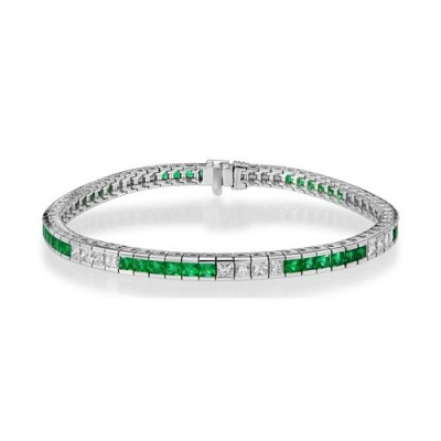 emerald bracelet 3.82ct. set with diamond in tennis bracelet smallest Image