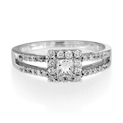 0.51ct. diamond ring set with diamond in cluster ring smallest Image