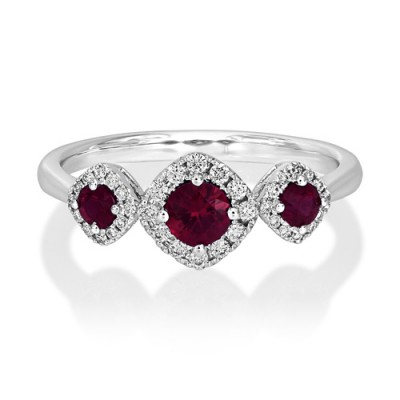 ruby ring 0.45ct. set with diamond in cluster ring smallest Image