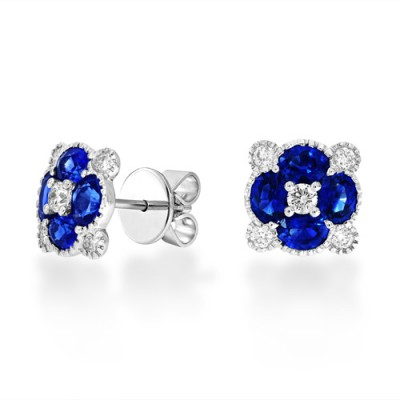 sapphire earrings 1.64ct. set with diamond in cluster earrings smallest Image