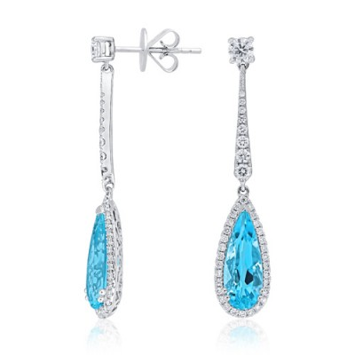 aquamarine earrings 2.27ct. set with diamond in cluster earrings smallest Image