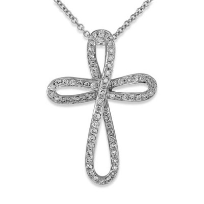 0.2ct. diamond pendant set with diamond in cross pendant smallest Image