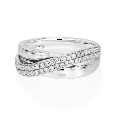 0.37ct. diamond ring set with diamond in crossover ring smallest Image