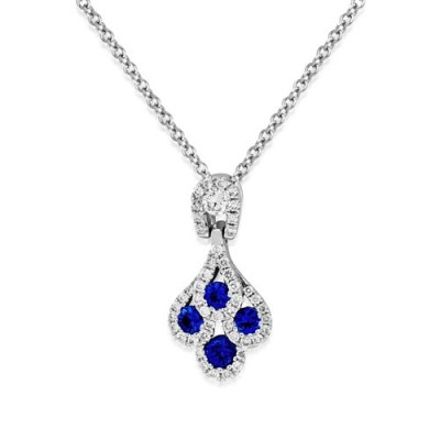 sapphire pendant 0.28ct. set with diamond in cluster pendant smallest Image