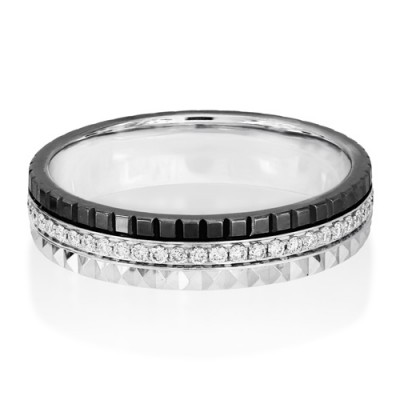 0.22ct. diamond ring set with diamond in wide band ring smallest Image