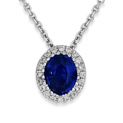 sapphire necklace 0.46ct. set with diamond in cluster necklace smallest Image