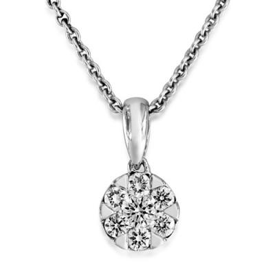 0.22ct. diamond pendant set with diamond in cluster pendant smallest Image