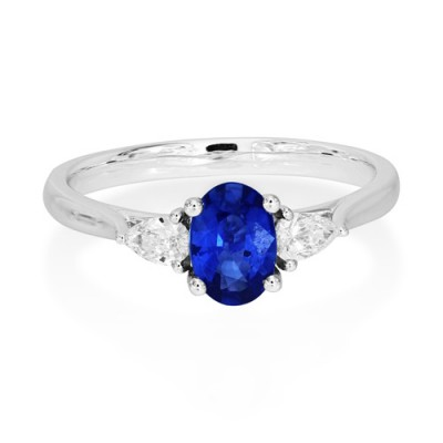 sapphire ring 0.77ct. set with diamond in three stone ring smallest Image