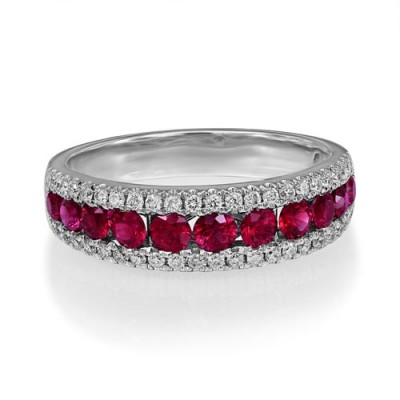 ruby ring 0.97ct. set with diamond in wide band ring smallest Image