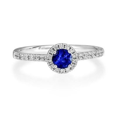 sapphire ring 0.33ct. set with diamond in cluster ring smallest Image