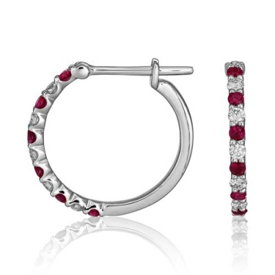 ruby earrings 0.25ct. set with diamond in hoop earrings smallest Image