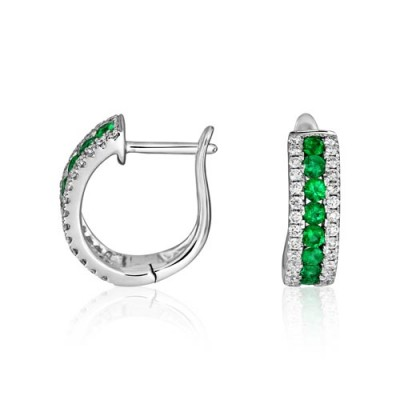 emerald earrings 0.47ct. set with diamond in hoop earrings smallest Image
