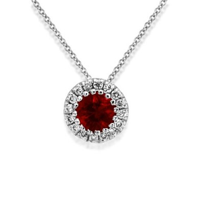 ruby necklace 0.18ct. set with diamond in cluster necklace smallest Image